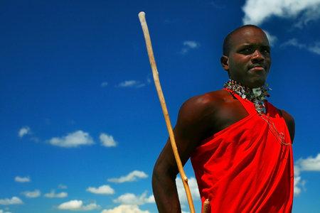 Masai warrior dancing traditional dance. Africa. Kenya. Masai Mara.