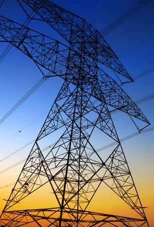 Electricity Pylon against blue sky. Environmental damage Stock Photo - 6696796