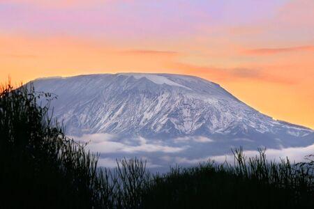 Sunrise on mount Kilimanjaro. Kenya. Amboseli national park. photo