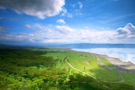 nakuru: Peaceful view on the lake Nakuru. Africa. Kenya Stock Photo