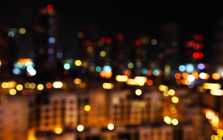 out of focus: Abstract bokeh of defocused city lights