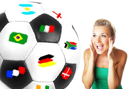 Excited football fan beautiful happy girl Stock Photo - 7168771