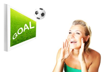 Excited football fan beautiful happy girl watching match on the screen Stock Photo - 7168772