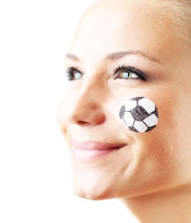 Closeup portrait of a happy football fan, shallow DOF, isolated Stock Photo - 7183891