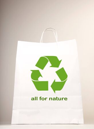 commercial recycling: Recycle symbol on the shopping bag