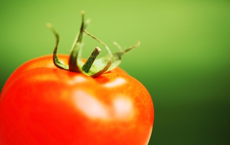 shallow dof: Closeup on red tomato with shallow DOF