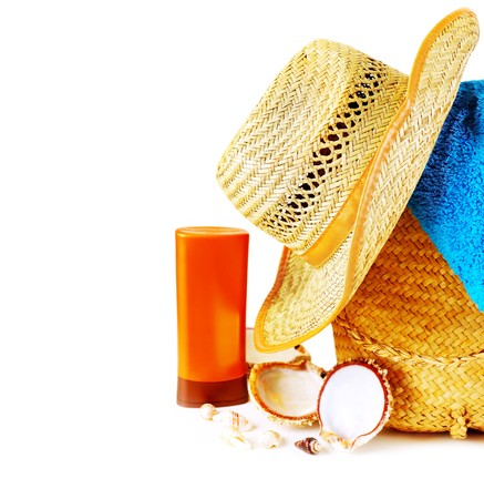 sunblock: Beach items isolated on white conceptual image of summertime vacation