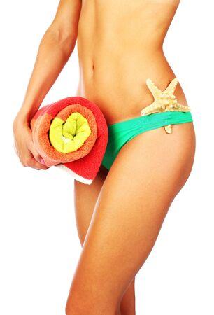 waist: Imagen conceptual aislados de bello cuerpo femenino de vacaciones, vacaciones & verano