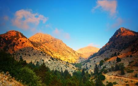 Mountains landscape valley peaceful sunset scene photo
