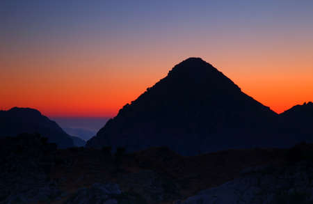 Dramatic sunset high up in the mountains Stock Photo - 7610378