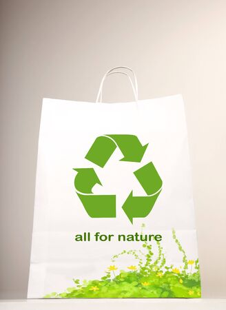 Recycle symbol on the shopping bag Stock Photo - 7664983