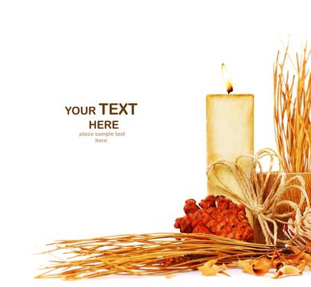 Autumn border with candle isolated on white background Stock Photo - 7664998