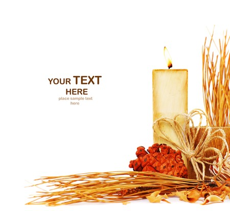 beautiful thanksgiving: Autumn border with candle isolated on white background