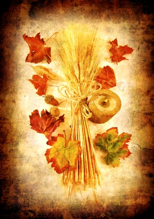Grunge autumn background with dry leaves & candle Stock Photo - 7665013