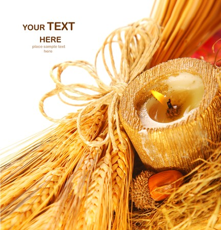 Closeup on wheat & candle Stock Photo - 7665010