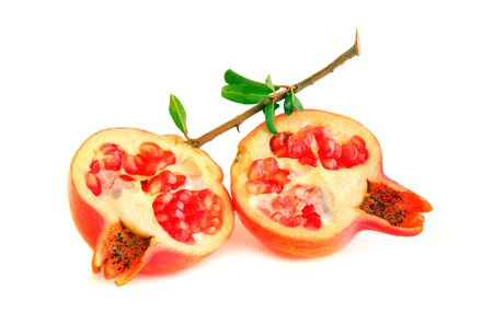 Red pomegranates isolated on white background Stock Photo - 7753262