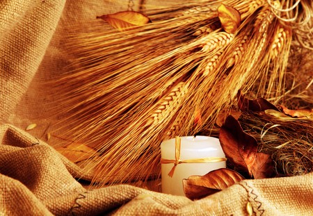 Autumn wheat background with leaves & candle photo