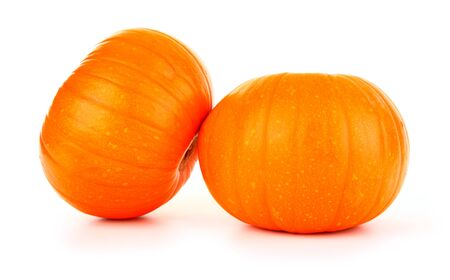 Two fresh pumpkins isolated on white photo