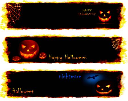 Halloween set of scary banners, conceptual image of celebration & holiday Stock Photo - 7842036