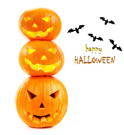 Scary halloween pumpkins & bats  isolated on white Stock Photo - 7842100