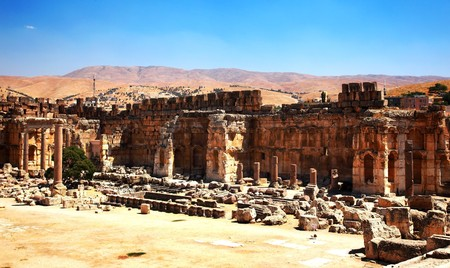 heliopolis: City of Jupiters temple ancient Roman columns, Baalbek, Lebanon