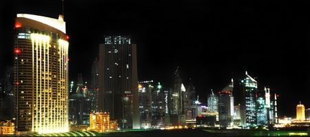 panoramic shot of Dubai downtown at night photo