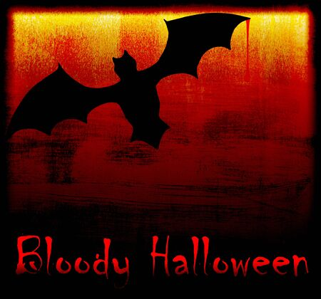 Halloween holiday background card with bat in the darkness Stock Photo - 7948519