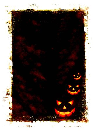 Halloween holiday card background with glowing jack-o-lantern in the darkness photo