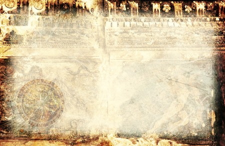 Grunge old background with antique sculpture & compass Stock Photo - 8015195