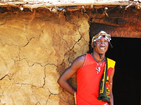 masai: Portrait of Masai Mara warrior, Africa, Kenya
