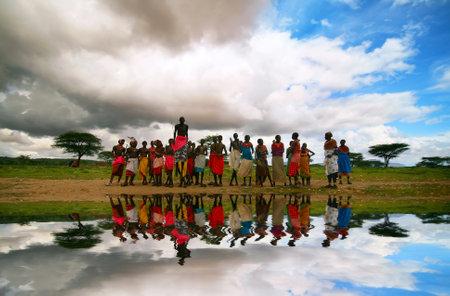 samburu: Traditional jumps of African Samburu tribesman. Africa. Kenya. Samburu