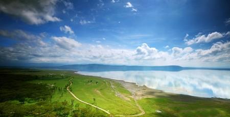 African landscape, birds-eye view on lake Nakuru, Kenya photo