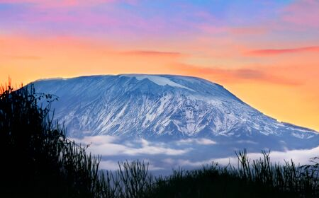 Kilimanjaro at sunrise, Amboseli national park, Kenya, Africa photo