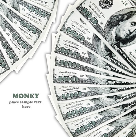 hundred dollar banknotes isolated on white, conceptual image of money making Stock Photo - 8184065