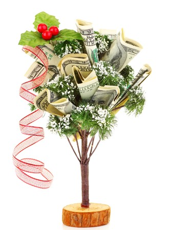 Money Christmas tree with red ribbon isolated on white background Stock Photo - 8184119