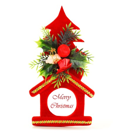 Red Christmas tree ornament and holiday decoration isolated on white background Stock Photo - 8184102
