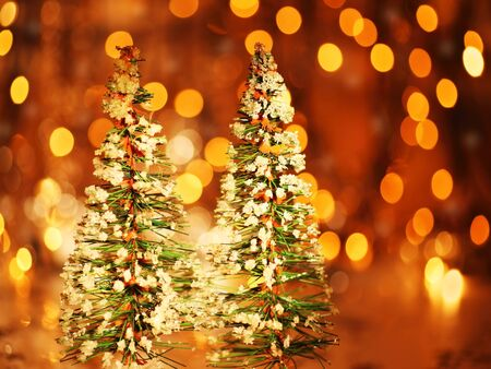 defocus: Christmas tree holiday background with winter ornament & defocus lights decoration Stock Photo