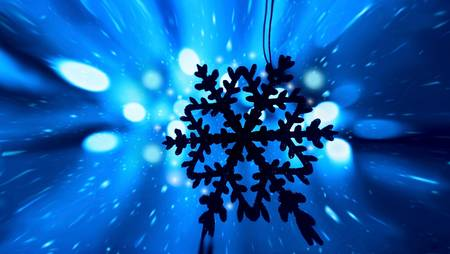 Blue snowy Christmas holiday background with tree decoration snowflake ornament and bokeh lights Stock Photo - 8267457