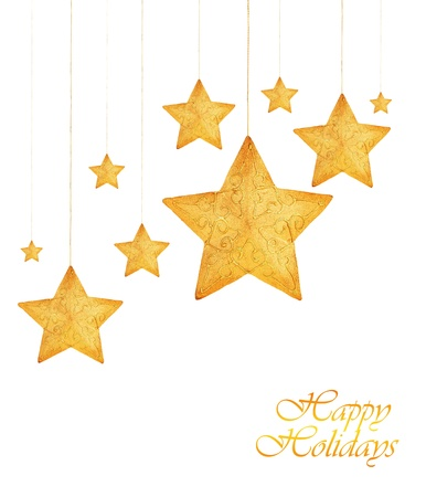 Golden stars, Christmas tree ornaments and holiday decorations isolated on white background photo