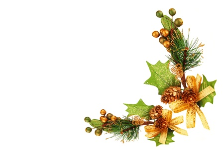 adorning: Holiday frame border with Christmas tree branch ornament  as winter decoration isolated on white background