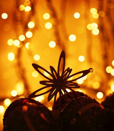 Christmas tree ornament & decoration as a holiday background card over abstract defocus golden lights Stock Photo - 8267516