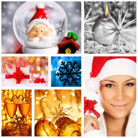 Winter holidays concept collage with collection of colorful decorations & ornaments photo