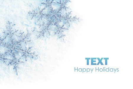 Beautiful blue snowflakes isolated, winter holiday background with copy space Stock Photo - 8333699
