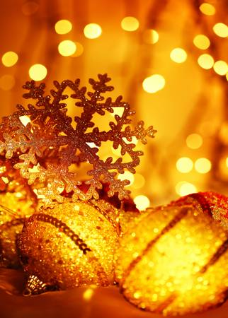 defocus: Golden Christmas tree ornament and holiday decoration with snowflake & abstract defocus  lights
