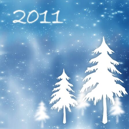 New Year holiday background with fir & 2011 text photo