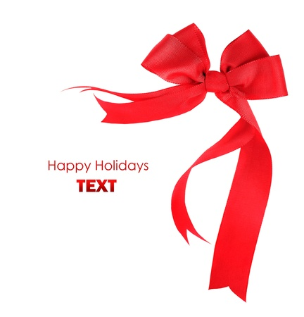 Beautiful red ribbon & bow, holiday border isolated on white background photo