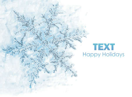 Beautiful blue snowflake isolated, winter holiday background with copy space Stock Photo - 8376002