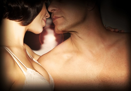 Happy couple kissing, love, romance, passion, relationship of two young beautiful adult people Stock Photo