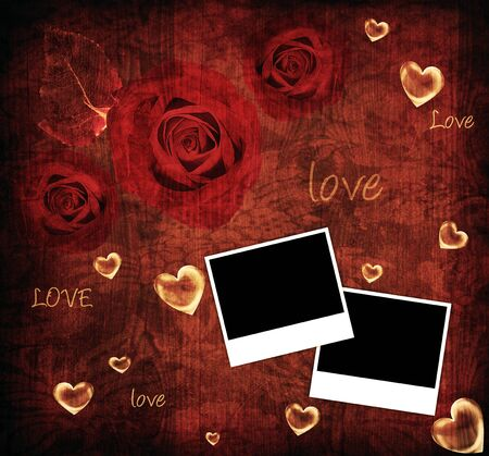 Red roses Valentine card, holiday background with photo frames, hearts &  love text photo