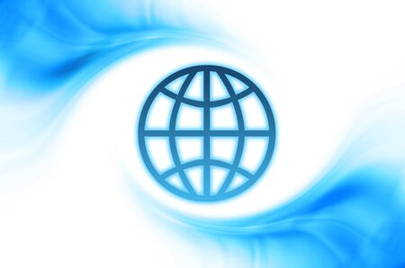 Abstract business background with blue curved waves and globe frame photo